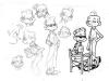 ''La Grosse Tête'', Le Spirou de Tehem, Makyo et Toldac : croquis