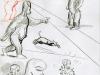 Recherches graphiques de Schwartz pour les gorilles-robots (La femme Léopard)