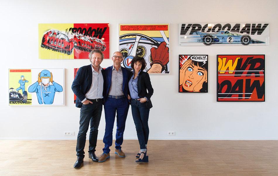 Philippe Graton, Jean-Louis Dauger et Dominique Graton, galerie des Art Strips dans leurs locaux à Bruxelles