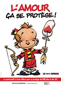 Le Petit Spirou et la Plate-Forme Prévention Sida : campagne de prévention à l'occasion de la Saint-Valentin